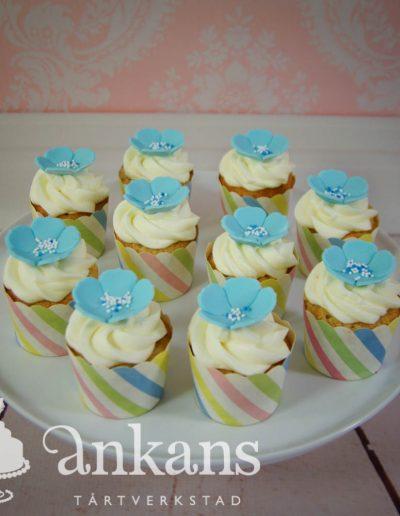 Cupcakes med blå blommor